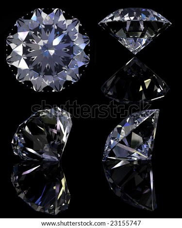 Diamonds set with reflection isolated on black background. Clipping path.