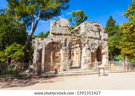Diana temple is an ancient roman temple in Les Jardins de la Fontaine public park in Nimes city in southern France