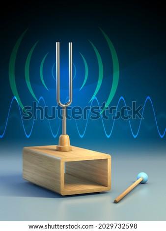 Diapason mounted on a sound box. 3D illustration. Foto stock ©