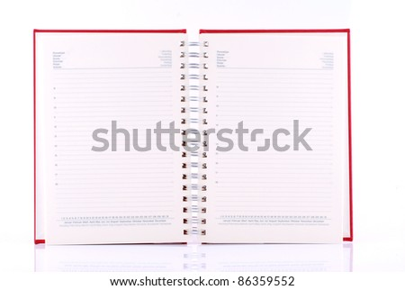 diary or organiser with blank pages on white background
