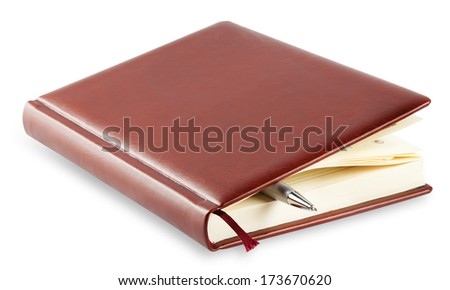Diary with mortgaged pen isolated on white background