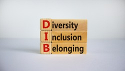 DIB, Diversity, inclusion and belonging symbol. Wooden blocks with words 'DIB, diversity, inclusion and belonging' on beautiful white background. Business, diversity, inclusion and belonging concept.