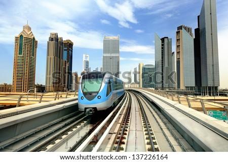 Dibai. Metro and skyscrapers