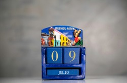Dice calendar for the city of Buenos Aires, marking the 9th of July, Argentine Independence Day. Souvenir.