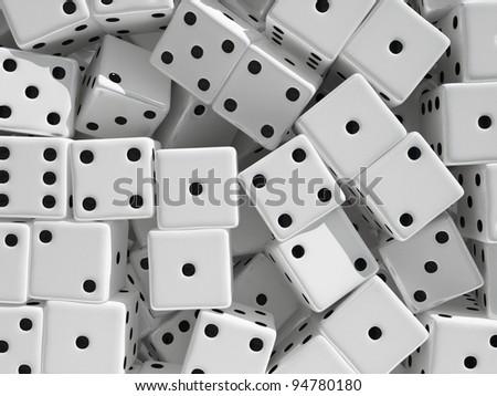 Dice cubes background. 3d rendered illustration.