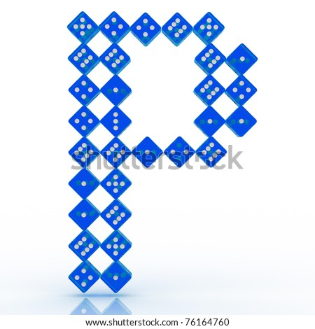 Dice font letter P  Blue  P Logo With Blue Background