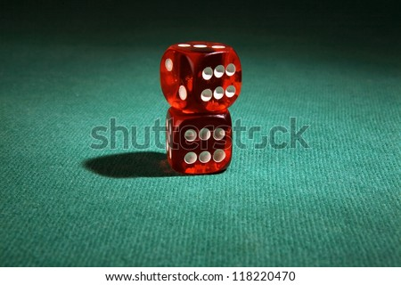dice game on green table