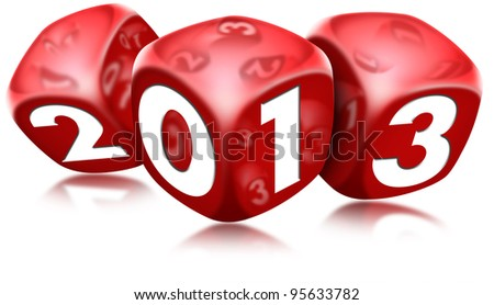 Dice 2013 Happy New Year / Three red dice with the written 2013 and reflections