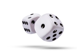 dice isolated on white background.Flying dice.