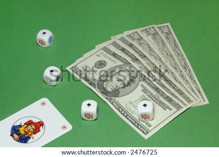 Dice poker with jolly and dollar bills on a casino table background