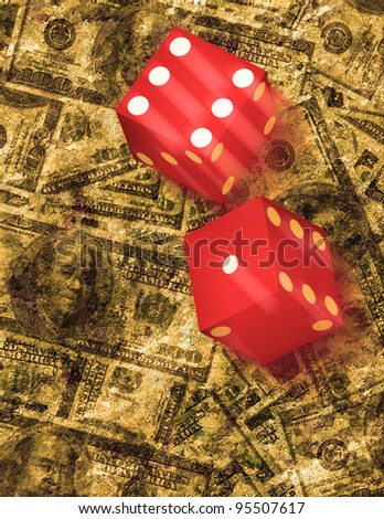 Dice roll on grunge US currency background - stock photo