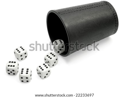 Dice six in the form of the question mark and glass