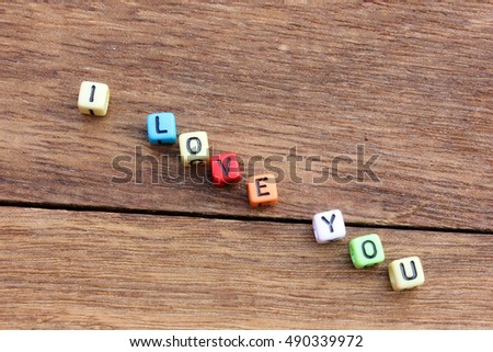 dice stacked letters i love you #490339972