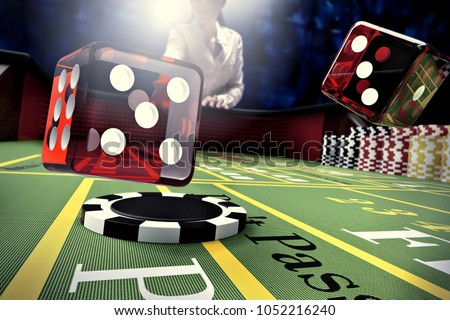dice throw on craps table in online casino