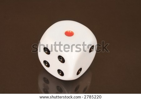 Red Dot Black Background Dice With Red Dot on Black