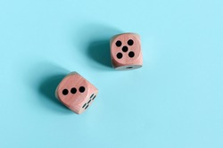 Dice with the numbers three and five on a light background. dice kopi space