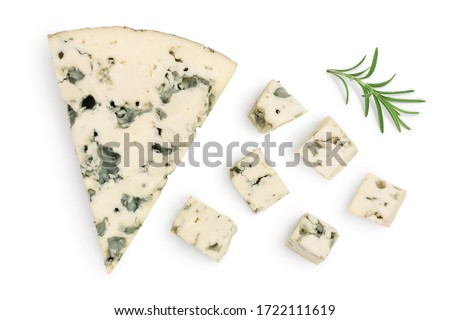 diced Blue cheese with rosemary isolated on white background with clipping path and full depth of field. Top view. Flat lay. Stockfoto ©