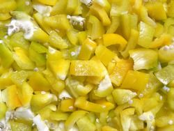 Diced cut yellow raw Bell pepper