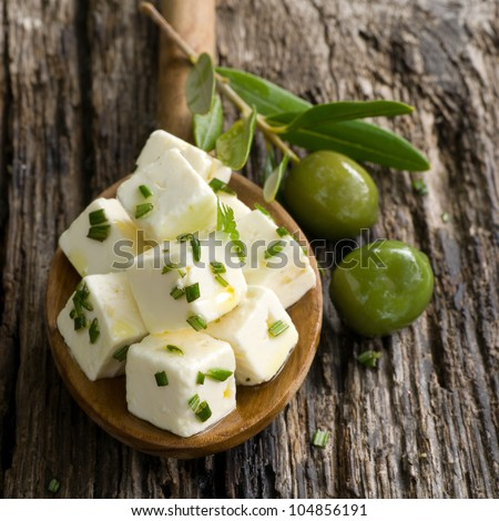 Diced feta with olives