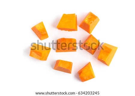 Diced Pumpkin Isolated in white background. cut out
