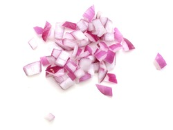 Diced Red Onion bulbisolated on white