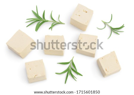 diced tofu cheese isolated on white background with clipping path and full depth of field, Top view. Flat lay Сток-фото ©
