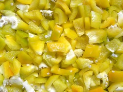 Diced yellow color raw Bell pepper