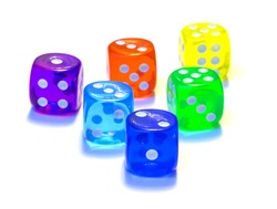 Dices, number one, two, three, four, five, six