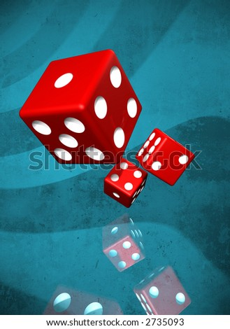 Dices on blue grunge background with faded reflection