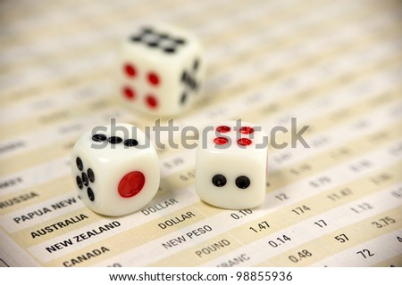Dices on currency report  for business concept