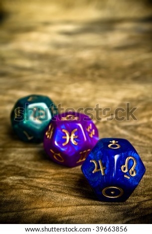 Dices with astrological symbols, planets and numbers of houses with copy space