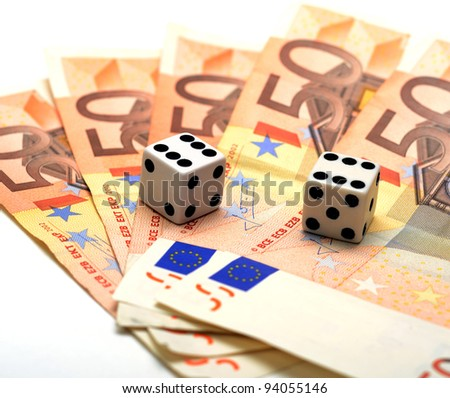 Dices with double six and 5 50 euro notes