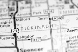 Dickinson. Iowa. USA on a map