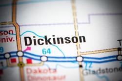 Dickinson. North Dakota. USA on a map.