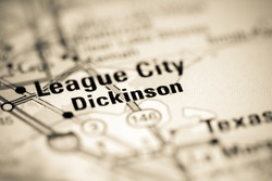 Dickinson. Texas. USA on a geography map