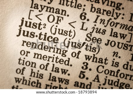 """Dictionary definition of """"justice"""".  Close-up view, with good paper textures."""