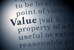 Dictionary definition of the word Value. Fake Dictionary
