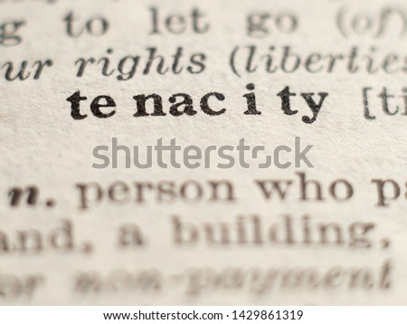 Dictionary definition of word tenacity, selective focus. Stock photo ©