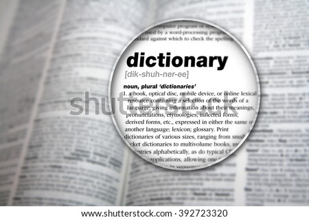 Dictionary showing the word 'Dictionary'.