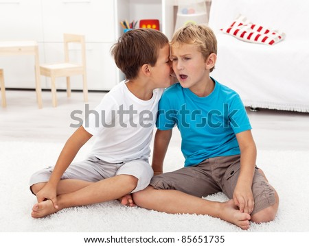 Did you hear this - gossip between two boys sharing secrets