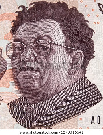 Diego Rivera portrait on Mexico 500 peso bill. Prominent Mexican painter, husband of Frida Kahlo.