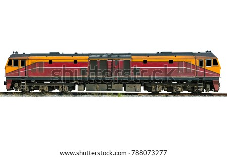 Diesel electric locomotive isolated on white background.