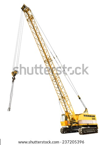 diesel electric yellow crawler crane isolated on white background #237205396