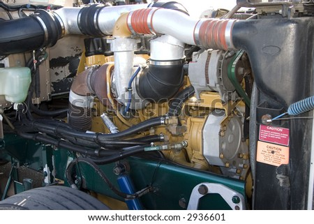 Diesel engine compartment with turbo charger