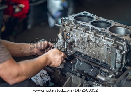 Diesel engine during service repair by a qualified mechanic Stock photo ©