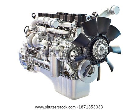 Diesel engine isolated white background