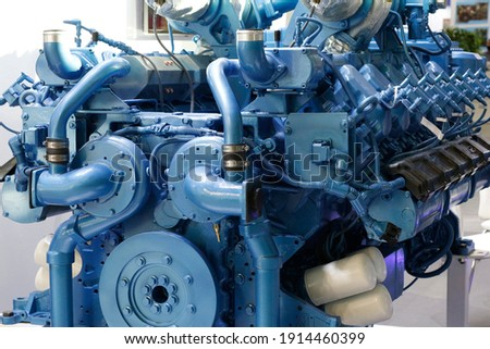 Diesel engines. Manufacture of marine and industrial diesel and gas engines. Diesel motors and generators. Stock photo ©