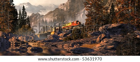 Diesel Locomotive On Steel Arched Bridge In The Rocky Mountains