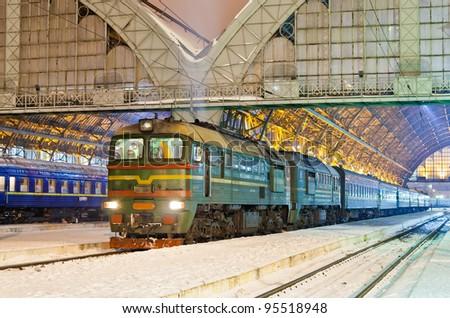 Diesel passenger train in Lviv, Ukraine