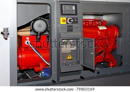 Diesel power generator for emergency electrical backup - stock photo